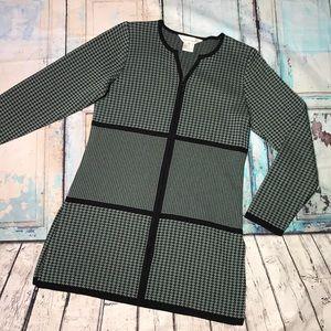 Misook green & black printed zip front tunic XS